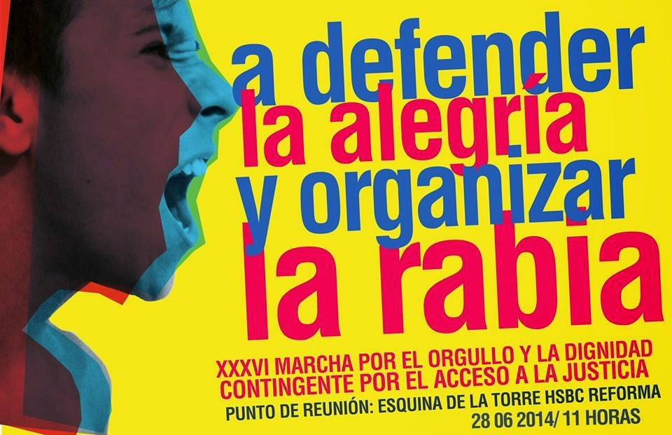 Imagen del contingente por acceso a la justicia, que en 2014, unió a diferentes colectivas durante la XXXVI Marcha del Orgullo y la Dignidad en la Ciudad de México. [Recuperada de http://sexta-azcapotzalco.blogspot.mx/2014/07/mexico-el-bloque-rosa-responde-revista.html]
